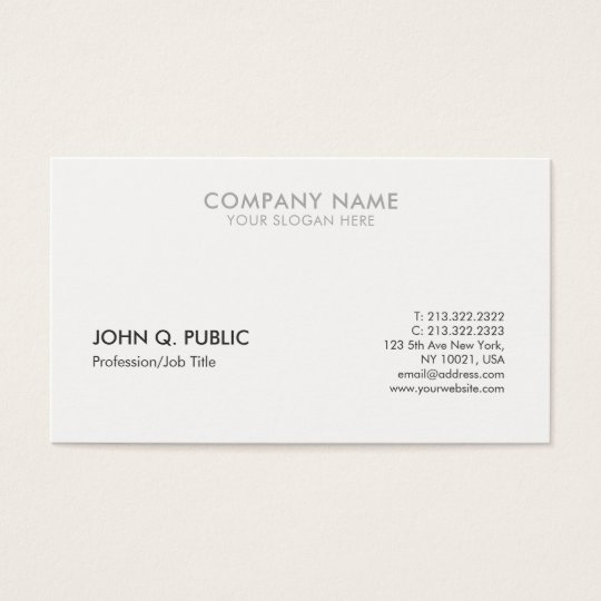 Modern Grey White Professional Clean Elegant Business Card