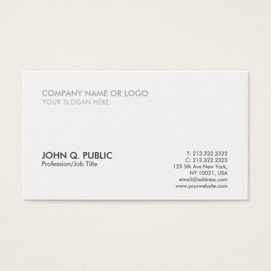 Modern Grey White Professional Simple Elegant Business Card