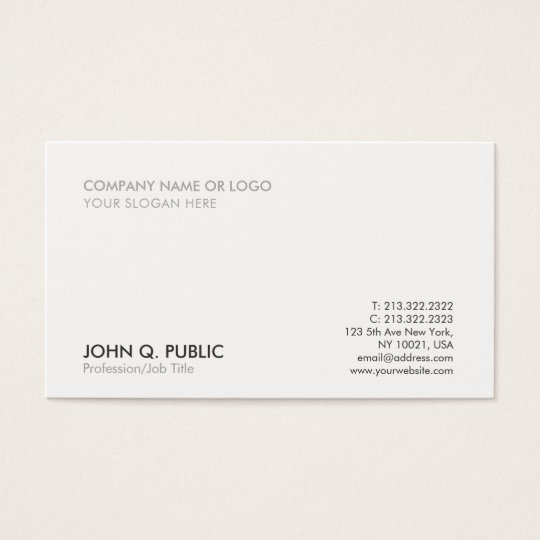 Modern Grey White Professional Simple Elegant Business Card