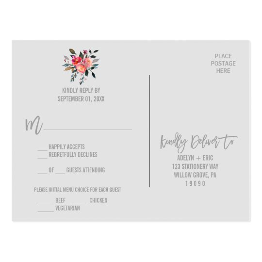 Modern Grey | Winter Flower Menu Choice RSVP Postcard