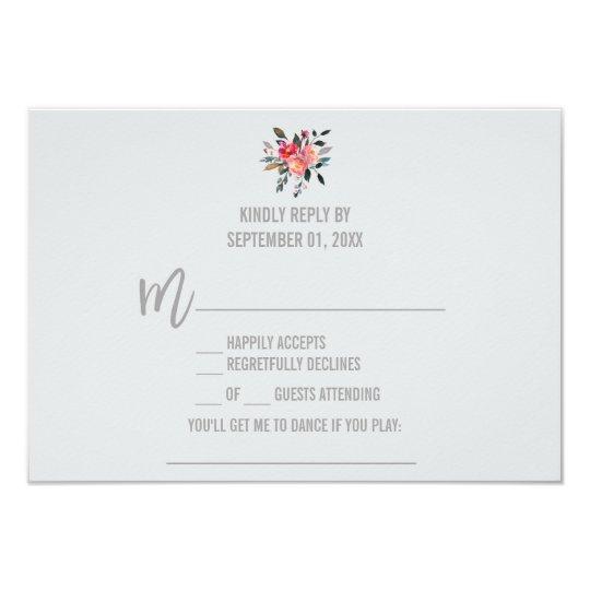 Modern Grey | Winter Flower Song Request RSVP Card