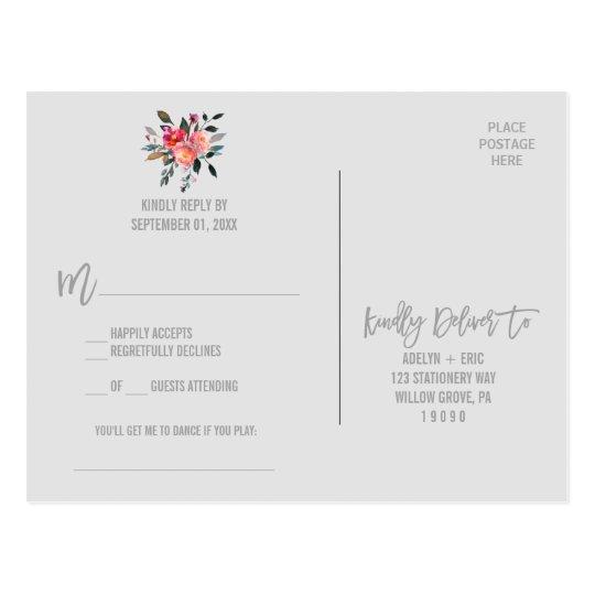 Modern Grey | Winter Flower Song Request RSVP Postcard