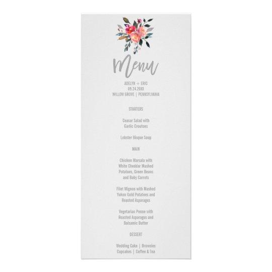 Modern Grey | Winter Flower Wedding Menu Card