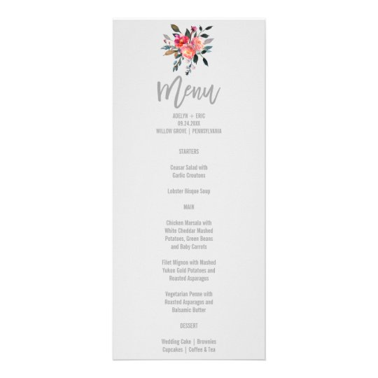 Modern Grey | Winter Flower Wedding Menu Card Personalized Rack Card