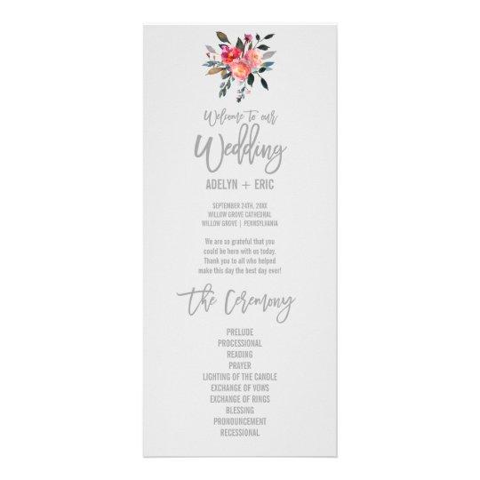Modern Grey | Winter Flower Wedding Program Custom Rack Card