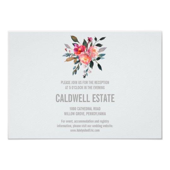 Modern Grey Winter Flower Wedding Reception Insert Card