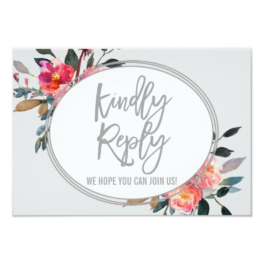 Modern Grey | Winter Flower Wedding Website RSVP Card