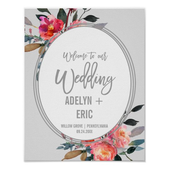 Modern Grey | Winter Flower Wreath Wedding Welcome Poster