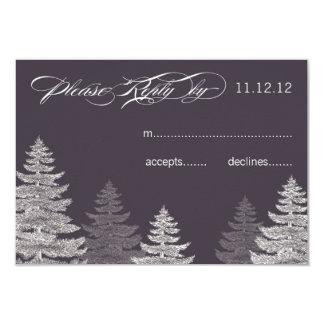 "Modern Grey Winter Wedding RSVP Cards Trees 3.5"" X 5"" Invitation Card"