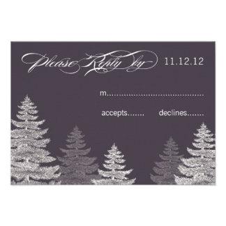 Modern Grey Winter Wedding RSVP Cards Trees Custom Invitations
