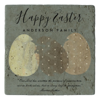 MODERN GREY ZEN WATERCOLOR EASTER EGGS PERSONALIZE TRIVET