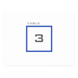 Modern Grid Blue Wedding Reception Table Numbers Postcard
