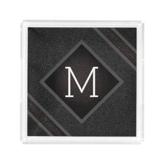 Modern Gritty Black Stone Texture Monogram Acrylic Tray
