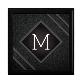 Modern Gritty Black Stone Texture Monogram Gift Box