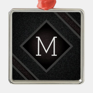 Modern Gritty Black Stone Texture Monogram Metal Ornament