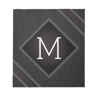 Modern Gritty Black Stone Texture Monogram Notepad