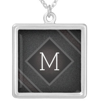 Modern Gritty Black Stone Texture Monogram Silver Plated Necklace