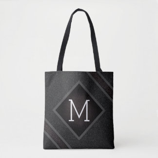 Modern Gritty Black Stone Texture Monogram Tote Bag