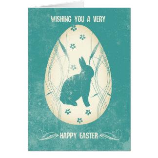 Modern Grunge Easter Bunny And Easter Egg Card