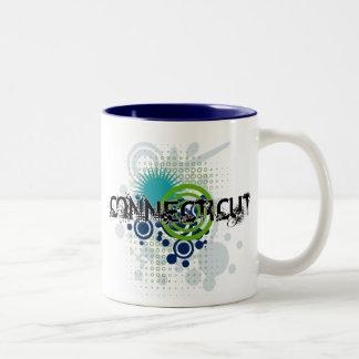 Modern Grunge Halftone Connecticut Mug