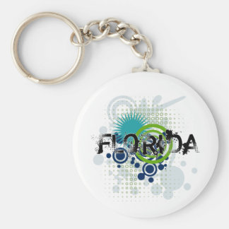 Modern Grunge Halftone Florida Keychain