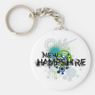 Modern Grunge Halftone New Hampshire Keychain