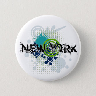 Modern Grunge Halftone New York Button
