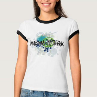 Modern Grunge Halftone New York T-Shirt Womens