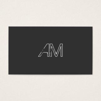 Modern Grunge Monogram on Carbon Black Business Card