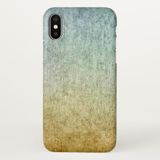 Modern Grungy Style Teal Blue Gold Gradient iPhone X Case