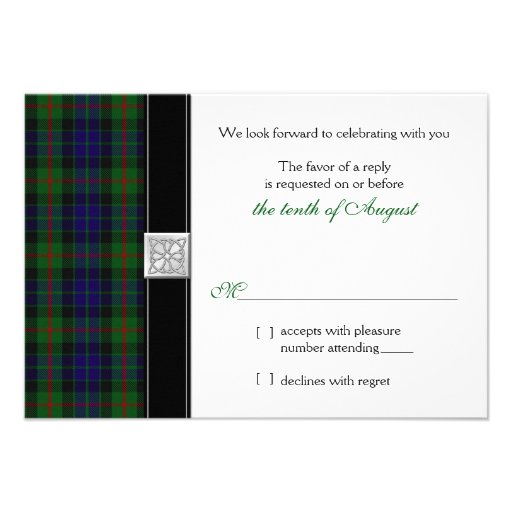 Modern Gunn Tartan Wedding RSVP Reply Card