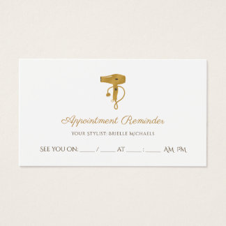 Modern Hair Salon Chic Gold Hair Dryer Appointment Business Card