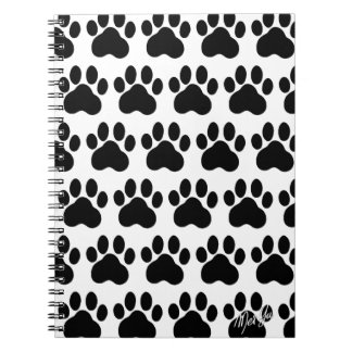 Modern Hand Drawn Black Paw Print Pattern Notebook