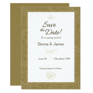 Modern Hand Drawn Flowers Save The Date Card