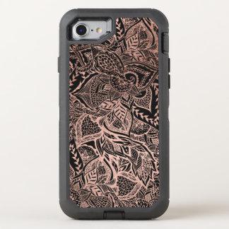 Modern hand drawn rose gold floral boho mandala OtterBox defender iPhone 8/7 case