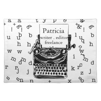 Modern Hand Drawn Vintage Typewriter Placemat