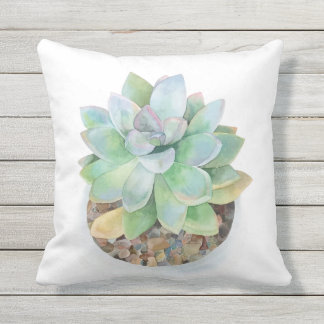 Modern Hand Drawn Watercolor Succulent. Outdoor Pillow