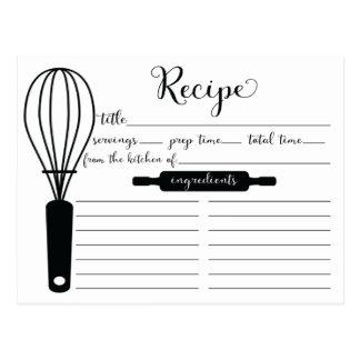 Modern Hand Lettered Black Whisk Recipe Card Postcard