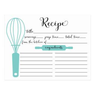 Modern Hand Lettered Blue Whisk Recipe Card Postcard
