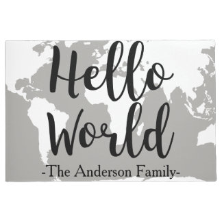 Modern Hand Lettered Hello World & Map Family Name Doormat