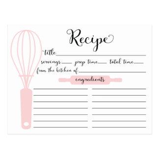 Modern Hand Lettered Pink Whisk Recipe Card Postcard