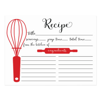 Modern Hand Lettered Red Whisk Recipe Card Postcard
