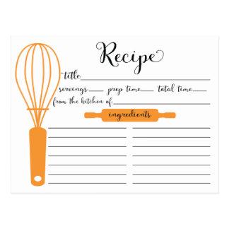 Modern Hand Lettered Tangerine Whisk Recipe Card Postcard