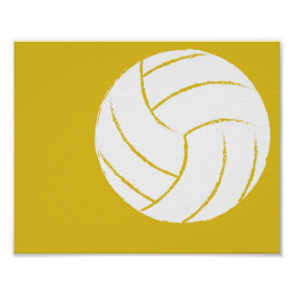 Modern Hand Painted Volleyball Art - 1 of 6 Poster