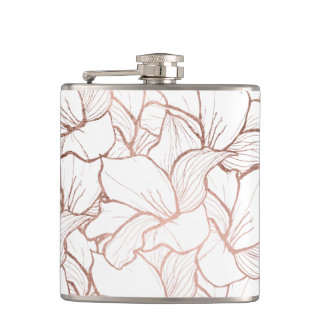Modern handdrawn faux rose gold flowers pattern hip flask