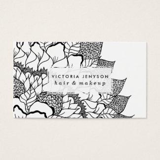 Modern handdrawn floral mandala black white business card