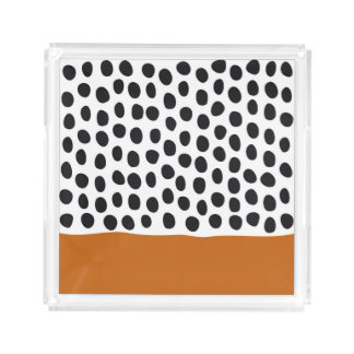 Modern Handpainted Polka Dots with Autumn Maple Acrylic Tray