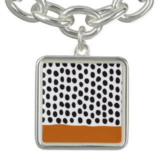 Modern Handpainted Polka Dots with Autumn Maple Bracelet