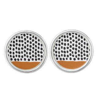 Modern Handpainted Polka Dots with Autumn Maple Cuff Links