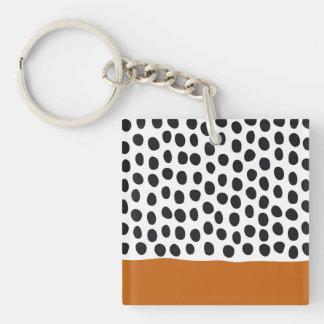 Modern Handpainted Polka Dots with Autumn Maple Keychain